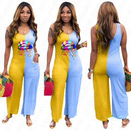 Wholesale ladies one piece pants for sale - Group buy Women Sleeveless Jumpsuit Lips Pattern Summer One Piece Bodysuit Ladies Rompers Casual Patchwork Colorful Loose Pants S XL D5603