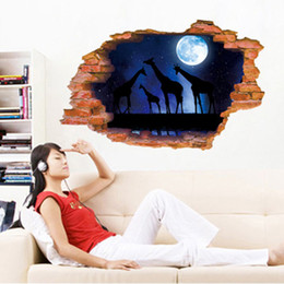 $enCountryForm.capitalKeyWord Australia - Giraffe in the Night Moon Woods Wall Stickers 3D Cracked View Wall Decals Home Decoration Self-adhesive Mural Poster Art Wall Tattoo