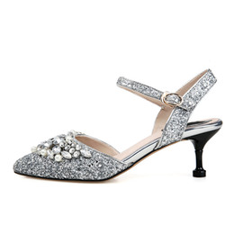 $enCountryForm.capitalKeyWord Australia - Sexy Silver Women Sandals Genuine Leather Pointed-toe 6 CM High Heels Summer Style Pearls Buckle Pumps Box Packing D08-26