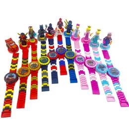 Опт Супер герой Часы DC Marvel Avengers фигурку игрушки мультфильм Building Block Часы для детей мальчиков девочек Рождественский подарок с коробкой пакета
