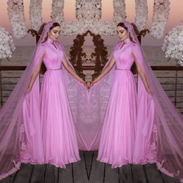 Wholesale Elegant High Neck Saudi Arabia Evening Dresses With Wrap African Formal Wear Prom Dresses Robe De Soiree Pageant Gowns Long Party Custom