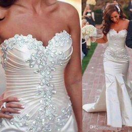 Discount sweetheart wedding dress mermaid crystals - 2019 Sexy Off The Shoulder Mermaid Wedding Dresses Lace Applique Beaded Sweetheart Neck Sweep Train Custom Made Plus Siz