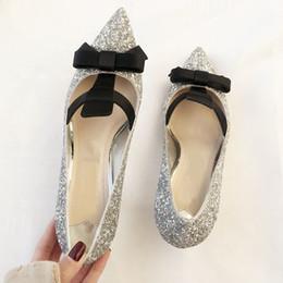 $enCountryForm.capitalKeyWord Australia - Hot Sale-2019 silver sexy bridal wedding shoes women bling bling sequins decor bowtie pointed toe glittery kitten heels pumps