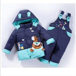Horse Suit NZ - cartoon baby Boys winter jackets girls down jacket suit down coat+jumpsuit baby clothing set kids jacket animal Horse doudoune