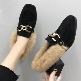 25e23a72715 New 2019 winter Round Toe metal Chain women Flats flip flop Rabbit hair warm  Lazy shoes woman fashion Leisure Flat shoes