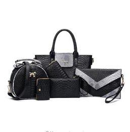 China 6sets Luxury Brands Women Tote+Shoulder Messenger+Clutch Composite Bags High Quality Serpentine Python Handbag Designer Bags cheap luxury python handbags suppliers