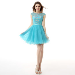 China Modest Blue Homecoming Short Prom dresses Beaded Top Jewel Strapless Backless Mini Party Cocktail Dress For Girls SH0045 suppliers