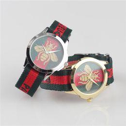 Pequena abelha marca watch tigre cobra couro de quartzo relógio de lona esporte clássico moda estilo relógio moda casal assista relogio masculino