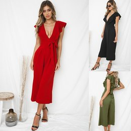 Discount fashion design jumpsuit - Fashion design womens jumpsuits deep V-neck sexy style short-sleeved belts solid color jumpsuit women clothes streetwear