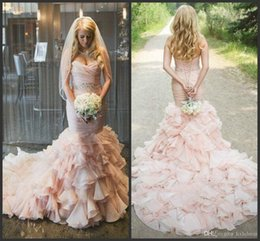 $enCountryForm.capitalKeyWord UK - New Blush Pleated Mermaid Wedding Dresses With Crystals Beaded Sash Sweetheart Neck Lace Up Back Tiered Sweep Train Organza Bridal Gown AY95