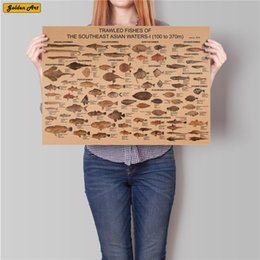 $enCountryForm.capitalKeyWord Australia - Sea fish collection chart Vintage kraft paper poster Retro bar cafe wall sticker decoration print picture painting 45.5x31.5cm