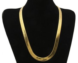 gold bone link chain Canada - 18K Gold Plated Men Women flat snake bone chain copper chain short clavicle blade chain 10mm