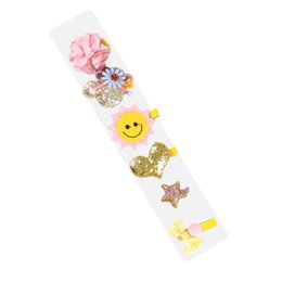Hair Clip Cover Baby UK - Baby Girls Hair Tie Ribbon Bow Clips Barrettes Hair Accessory Set soft and safe, all clips are covered by cloths, no damage
