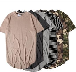 Urban camo clothing online shopping - New Style Summer Striped Curved Hem Camouflage T shirt Men Longline Extended Camo Hip Hop Tshirts Urban Kpop Tee Shirts Mens Clothes