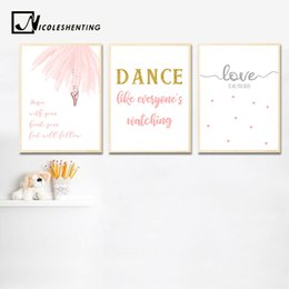 Dance art painting online shopping - Baby Girl Nursery Wall Art Canvas Posters Ballerina Dance Prints Cartoon Painting Nordic Kids Decoration Picture Bedroom Decor