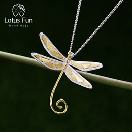Tanzanite Pendants Australia - Lotus Fun Real 925 Sterling Silver Natural Style Handmade Fine Jewelry Cute Dragonfly Pendant without Necklace for Women J190523