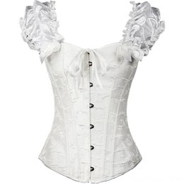 everyday strapped corset Canada - Satin Corsets and Bustiers Women's Underwear Underwear Gothic Lace Up Vest Overbust Corsets Shoulder Straps Brocade Corselet for Women Steam