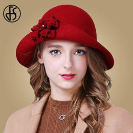 a04e56460e445 FS Women Hat Autumn 100% Wool Elegant Red Blue Black Fedoras Vintage Wide  Brim Ladies Felt Hats Flower Winter Bowler Cloche Hat