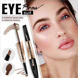 eyebrow gel mascara NZ - Kiss beauty dual ended eyebrow pencil + eyebrow mascara waterproof liquid gel brown microblading tattoo