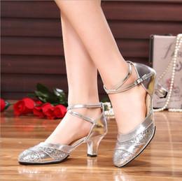 $enCountryForm.capitalKeyWord Australia - Ladies New Sequin Sandals Zapatos de verano de mujer Female Latin Ballroom Dance Shoes Female Dancing Shoes High Heel 3cm 5cm Soft Sole