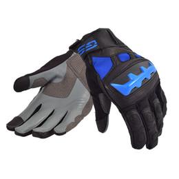 Venta al por mayor de Guantes de cuero para montar en moto Street para BMW Motorrad GS, negro / azul, guantes de hombre