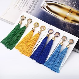 Tassel Ornament Australia - European and American fashion simple temperament diamond ear ornaments sun wheel flowers long tassel earrings