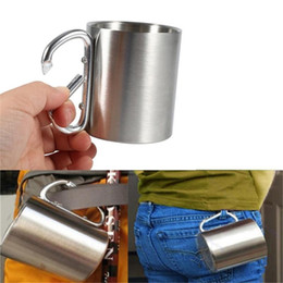 $enCountryForm.capitalKeyWord Australia - 350ml Carabiner Hook Camping Mugs Stainless Steel Camping Traveling Outdoor Cup Portable Hiking Sports Cup With Carabiner Hook