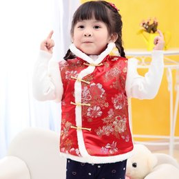 Discount chinese baby outfits - Baby Girls Quilted Coats Festival Waistcoat Girl Down Jacket Chi-pao Chinese Children Qipao Outerwear Thick Outfits Vest