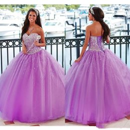 $enCountryForm.capitalKeyWord Australia - 2019 Purple Sweetheart Crystal Ball Gown Prom Dresses Bling Beaded Strapless Quinceanera Dress debutante Vestido De 15 Anos Sweet 16 Dress