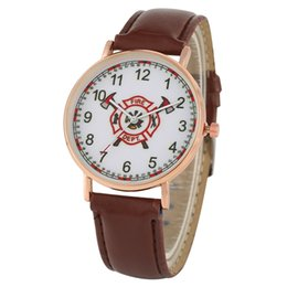 $enCountryForm.capitalKeyWord UK - Creative Fire Brigade Logo Watch for Men Classic Arabic Numerals Dial Quartz Wristwatch Durable Pin Buckle Leather Strap Watches for Male