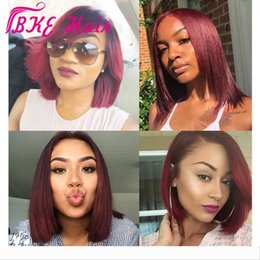 white blonde lace front wigs UK - burgundy short bob synthetic lace front wig heavy density natural hairline middle parting for white women Wigs