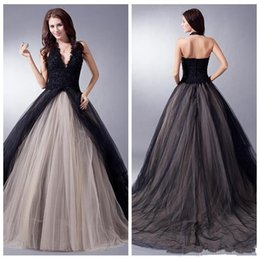 $enCountryForm.capitalKeyWord Australia - 2019 New Design Black Gothic Wedding Dresses Lace Vestido De Noiva Pleats Sweep Train A-Line Tulle Halter Bridal Gowns Custom Made