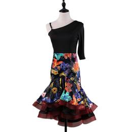 $enCountryForm.capitalKeyWord UK - Lady women adult Embroidered Latin Dance Competition Clothes Oblique Shoulder Single-Sleeve Latin Dance Performance Dancewear