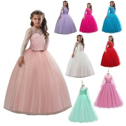 Discount elegant princess gowns for kids - Girl Lace Dress Long Tulle 3-15Yrs Girl Party Dress Elegant Summer Children Clothing Princess Wedding Kids Dresses For G