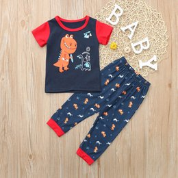 dinosaurs pajamas Australia - Toddler Baby Boy Girl Short Sleeve Dinosaur Tops+Pants Pajamas Sleepwear kids fashion animals Outfits summer clothes for boys