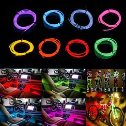 NeoN light clothiNg online shopping - 5M Strip Light Neon Light Glow EL Wire Rope Tube Cable Waterproof Dance Party Decor Neon Lamp For Car Shoes Clothing DIY Toy