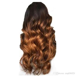 Blonde two tone wigs online shopping - Wavy Ombre Blonde Lace Front Wig Human Hair B Peruvian Remy Hair Lace Wig For Women Preplucked Two Tone Lace Wig Density