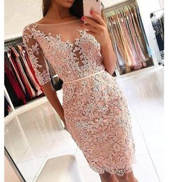 Sheath Plus Size Dress Australia - Elegant Knee Length Sheath Cocktail Dresses 2019 Sexy Half Sleeves Formal Party Homecoming Dresse Robe De Cocktail Plus Size Prom Gowns