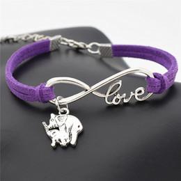 $enCountryForm.capitalKeyWord Australia - Drop shipping Infinity Love Mom and Child Elephant Pendant Charm Wrap Bracelets Handmade Boho Purple Leather Rope Bangles Women Men Jewelry