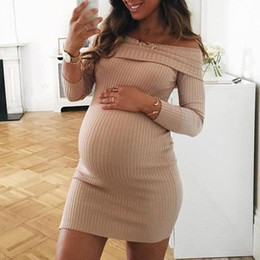 knitted maternity dresses Canada - Knitted Maternity Dresses For Pregnant Women Clothes Shoulderless Pregnancy Dresses Gravidas Vestidos Spring Autumn ClothingMX190912