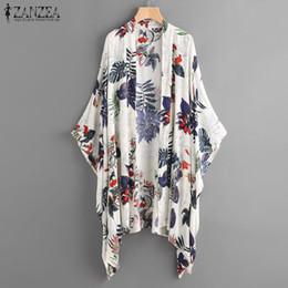 Kimono Floral Plus NZ - ZANZEA Women Floral Printed Blouse Kimono Tops Plus Size Shirt Ladies Open Front Cardigan Summer Bikini Cover Up Beach Blusas