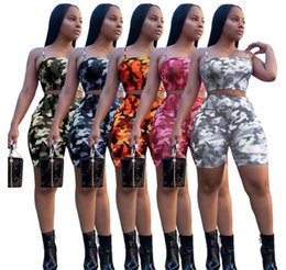 $enCountryForm.capitalKeyWord UK - Summer European US Women Tracksuit Camo Print Two Piece Outfits Condole Belt Tops +Shorts Women Clothes Sexy Hot Selling