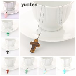 $enCountryForm.capitalKeyWord Australia - Stone Cross Pendant Necklace Tiger Eye Charms Clavicular Chain Women Choker Jewelry Men Christian Catholic Accesories