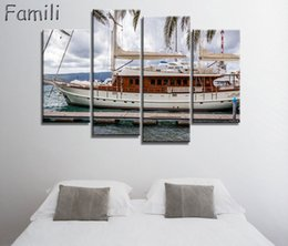 $enCountryForm.capitalKeyWord Australia - 4Panel Frameless Canvas Painting sailboat Painting for Living Room Wall Art Posters and Prints Modern Pictures Decoration