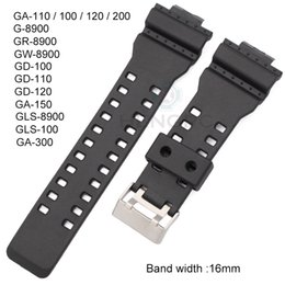 Dive Watches For Men Australia - 16mm Rubber Watchbands Men Black Sport Diving Silicone Watch Strap Band Metal Buckle For Casio Watch Accessories