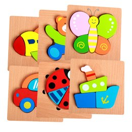 intellectual puzzle block NZ - Children Wooden puzzle toys Cartoon three-dimensional hand grasp board building blocks Animal baby intellectual development toy free TNT