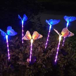 changing fiber optic Australia - 3Pack Garden Solar Lights Outdoor,Multi-Color Changing Solar Powered ,Fiber Optic Butterfly Decorative Lights,Yard Art,Garden Decorations.