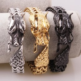 $enCountryForm.capitalKeyWord Australia - 12mm High Quality Stainless Steel Silver Gold Black 3D Dragon Head Figaro Chain Men's Boy's Casting Bracelets Jewelry Xmas Gift