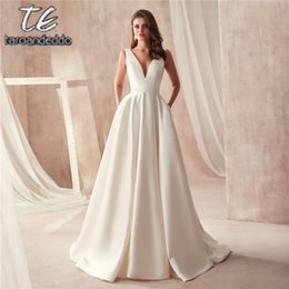 $enCountryForm.capitalKeyWord Australia - Famous Design Satin Wedding Dress With Pocket V-neck Cutout Side Open Back Bridal Dress Pocket Vestido Longo De Festa Y19072901