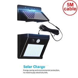 solar panel flood light Australia - 5M cable 30 leds solar motion light split panel 3 modes wall security street deck decor fence spot flood lamps for home indoors 5M wire